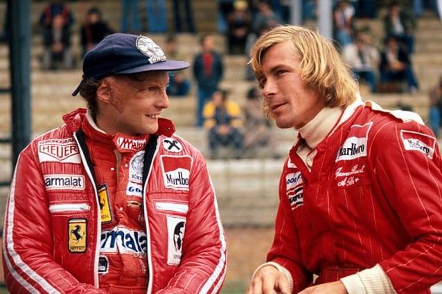 da sinistra, Niki Lauda (Ferrari) e James Hunt (McLaren), GP del Belgio, Zolder, 5 giugno 1977.