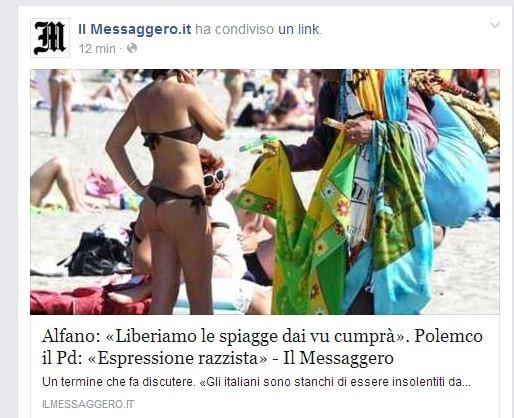 """Il Messaggero–dichiarazione di Alfano sui """"vu cumprà"""""""