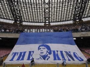 Napoli campione d'Italia: gigantografia di Maradona