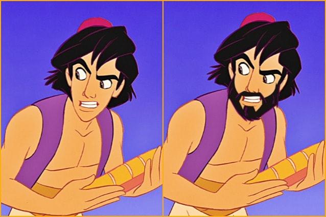 Effetto babbo natale i personaggi disney con e senza barba foto