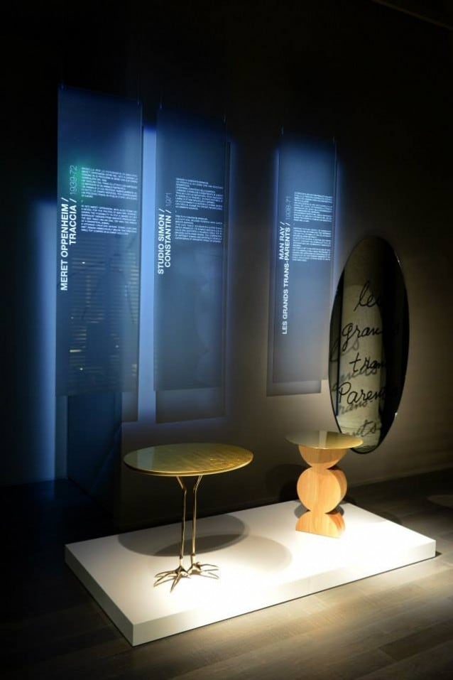 TRACCIA, design Meret Oppenheim, CONSTANIN, design Studio Simon, Homage to Costantin Brancusi. LES GRANDS TRANS–PARENTS, design Man Ray