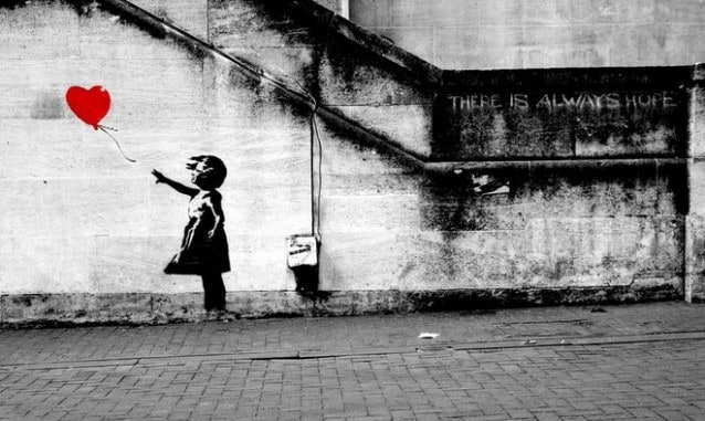 Banksy–The girl with balloon