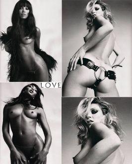Modelle nude per Love: Kate Moss e Naomi Campbell, le foto senza veli