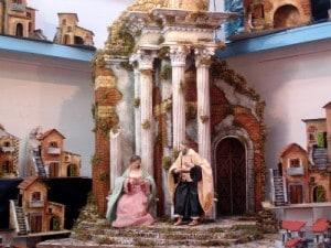 natività presepe napoletano con colonnato classico