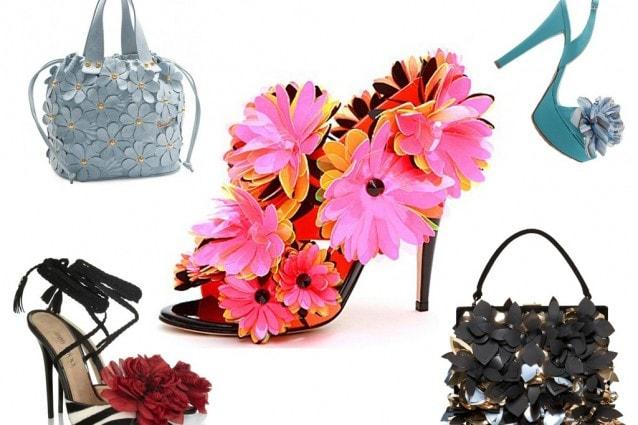 Fiori 3D decorano scarpe e borse per la PE 2012