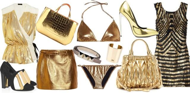 Abiti e accessori dorati primavera estate 2012