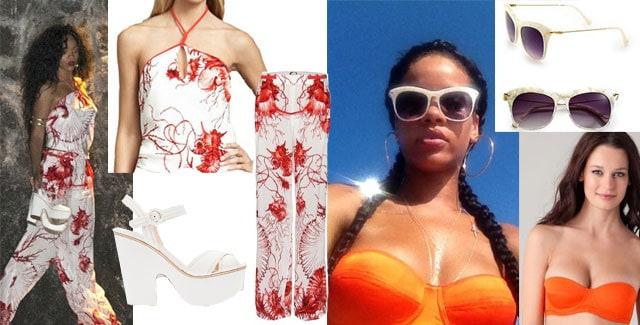 Rihanna a positano in abito roberto cavalli e zeppe prada