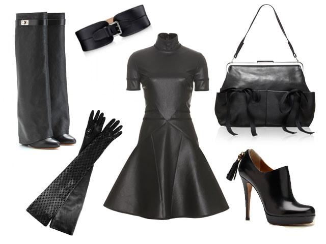 abiti e accessori in pelle nera per l'autunno inverno 2012 2013