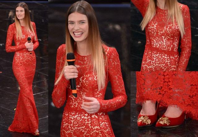Il quarto look di Bianca Balti a sanremo 2013