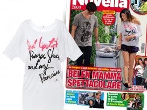 Belen Rodriguez con look da neo mamma