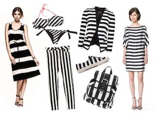 Righe in black&white su abiti e accessori low cost