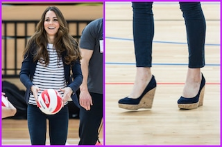 Kate Middleton, ventre piatto e zeppe sul campo di pallavolo (VIDEO)