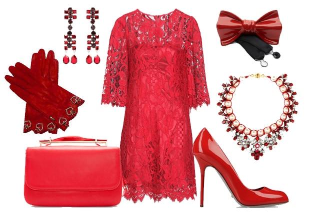 Minidress Dolce&Gabbana, orecchini Lanvin, guanti Sermoneta, medium bag Zara, papillon in ceramica Cor Sine Labe Doli, collier Shourouk, pumps Sergio Rossi
