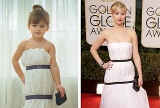 A 4 anni posa come una star con abiti di carta che imitano quelli delle dive (FOTO)