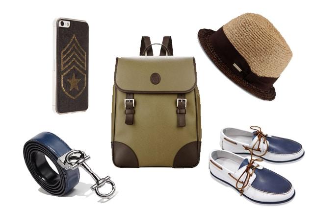 Zaino Trussardi, scarpe Dondup, cappello in paglia Dsquared2, cover per smartphone Benjamins, cintura Salvatore Ferragamo