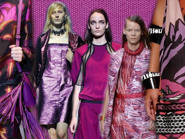 Da sinistra: abito fantasia e borsa con frange Gucci, abito metallic Lanvin, modello profilato in nero Gucci, completo a stampa Kenzo, stampe in radiant orchid su un abito Missoni