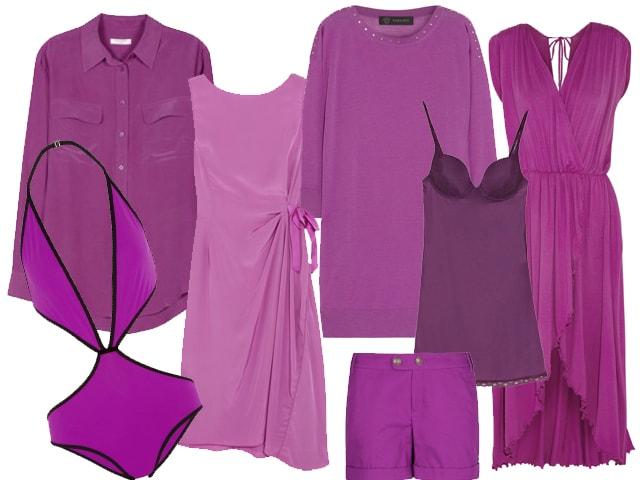 Da sinistra: camicia Equipment, trikini Gucci, abito Nina Ricci, maxi pull Versace, top Oysho, shorts Mango, abito Tara Matthews