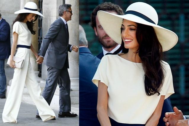 Abiti Eleganti Con Cappello.Amal Alamuddin Sposa Chic Pantaloni E Cappello Per Il Matrimonio