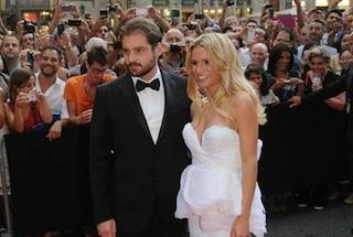 Abito da sposa di Michelle Hunziker: il vestito in bianco e rosa