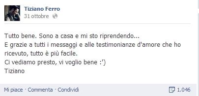 Tiziano Ferro post FB