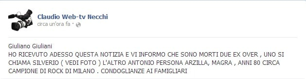 Il post di Claudio Necchi sulla sua pagina facebook