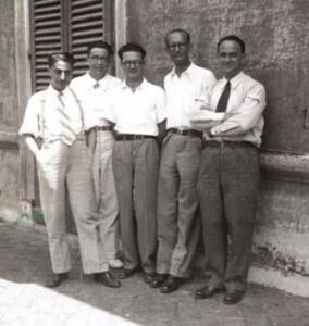 """I """"ragazzi di via Panisperna"""" prima dell'arrivo di Pontecorvo. All'estrema destra, Enrico Fermi."""