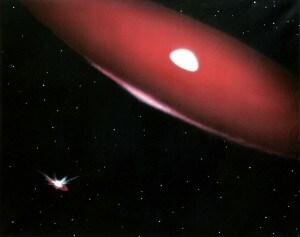 Illustrazione artistica di una stella Be con il suo disco di materiale espulso. Margherita Hack ha dato importanti contributi allo studio di queste stelle.