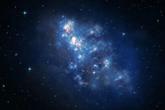 Rappresentazione artistica della neo–scoperta Galassia (Credit: V. Tilvi, S.L. Finkelstein, C. Papovich, and the Hubble Heritage Team)