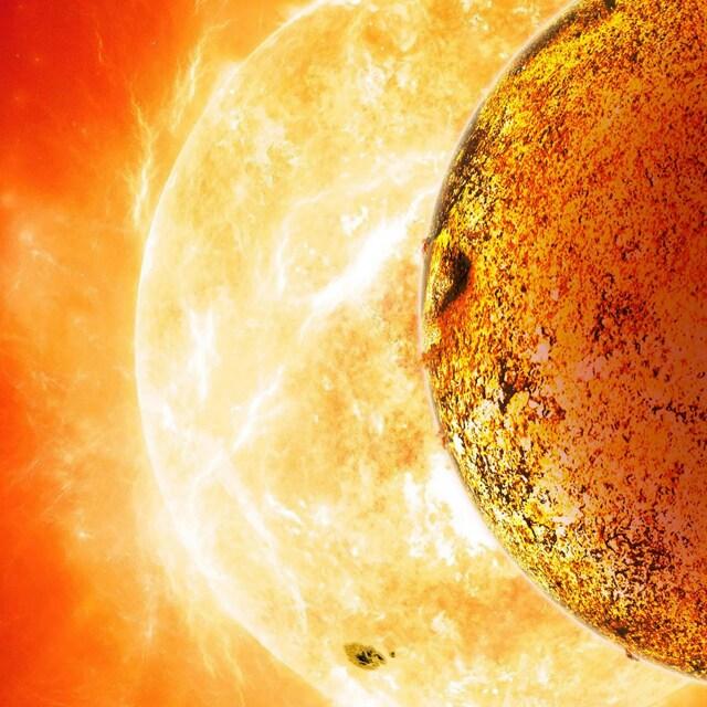 Rappresentazione grafica di Kepler 78–b davanti alla sua stella. Il tempo di rivoluzione intorno a Kpeler è solo di 8 ore – a differenza dell'anno della Terra – per via dell'orbita molto ristretta e ravvicinata intorno alla stella.