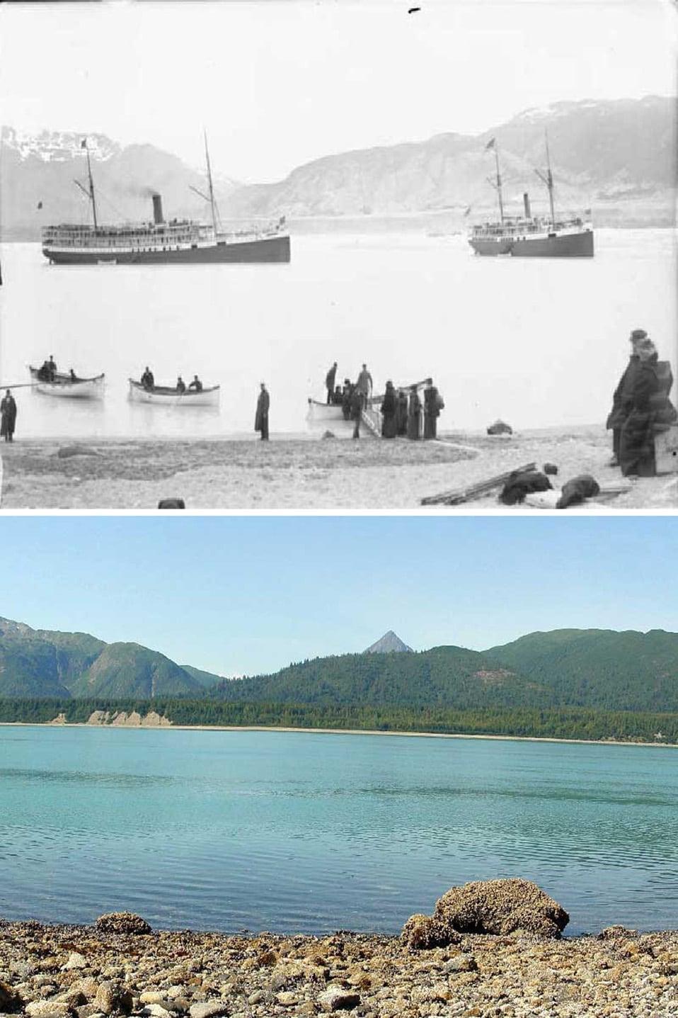 Sopra: giugno 1895; Sotto: 28 agosto 2004.
