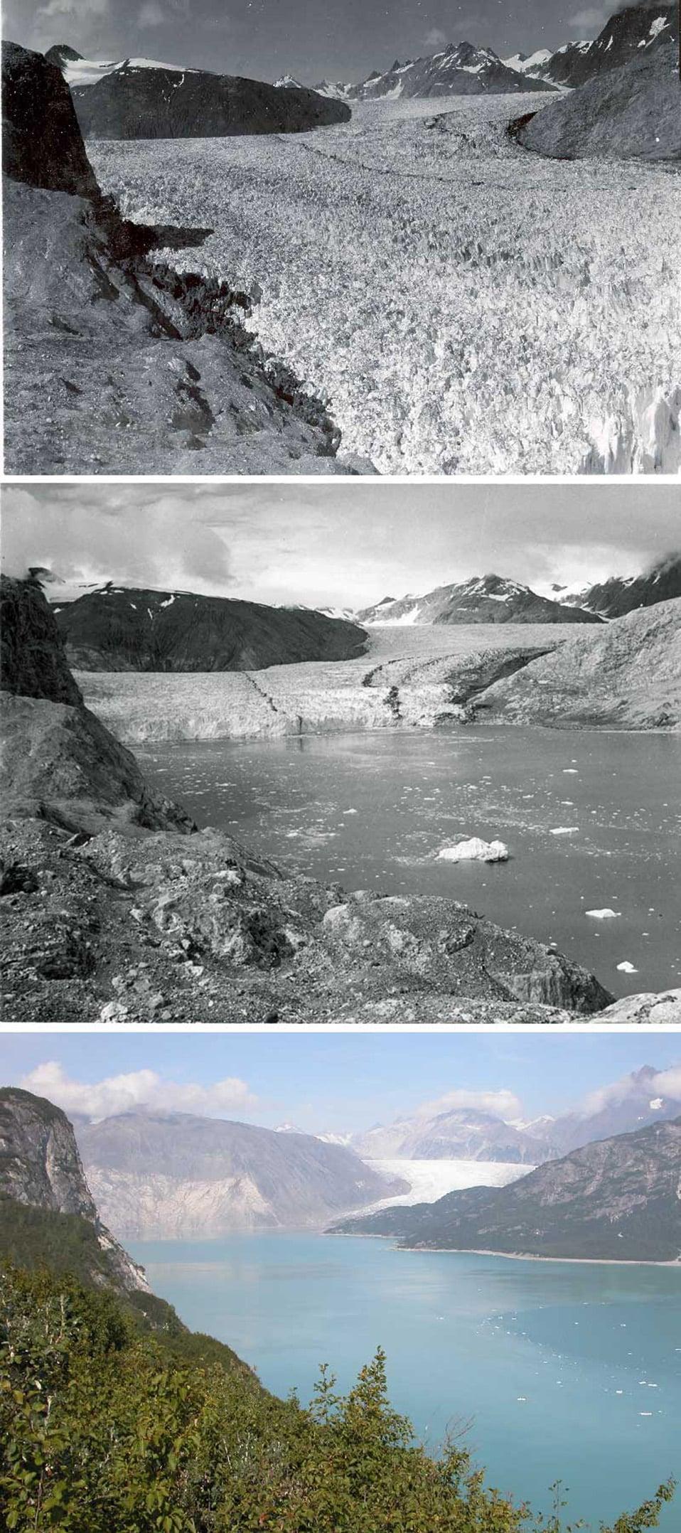 Sopra: 13 agosto 1941; Al centro: 4 agosto 1950; Sotto: 31 agosto 2004.