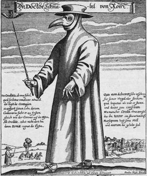 L'abbigliamento tipico di un medico nel Seicento in tempi di peste.