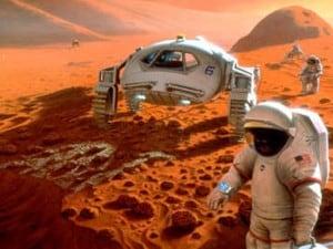 Rappresentazione grafica di un'esplorazione umana di Marte.