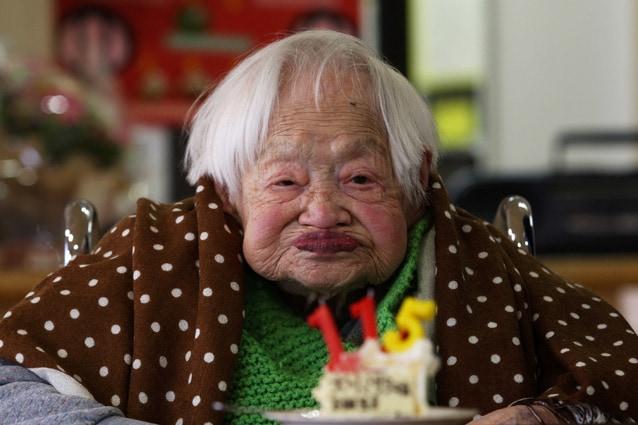 Misao Okawa l'anno scorso, al suo 115° compleanno
