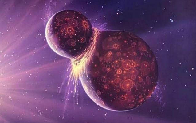 Rappresentazione artistica dell'impatto che causò la nascita della Luna (Credit: NASA/GSFC)