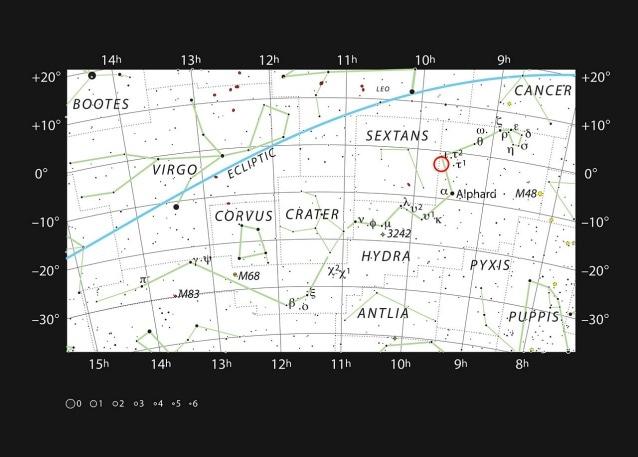 La mappa mostra la vasta ed irregolare costellazione dell'Idra e, contrassegnata dal cerchietto in rosso, la posizione della nebulosa Abell 33 (Credit: ESO, IAU and Sky & Telescope)