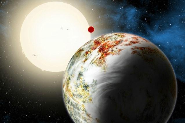 Rappresentazione artistica del sistema Kepler–10 (Image Credit: Harvard–Smithsonian Center for Astrophysics/David Aguilar)