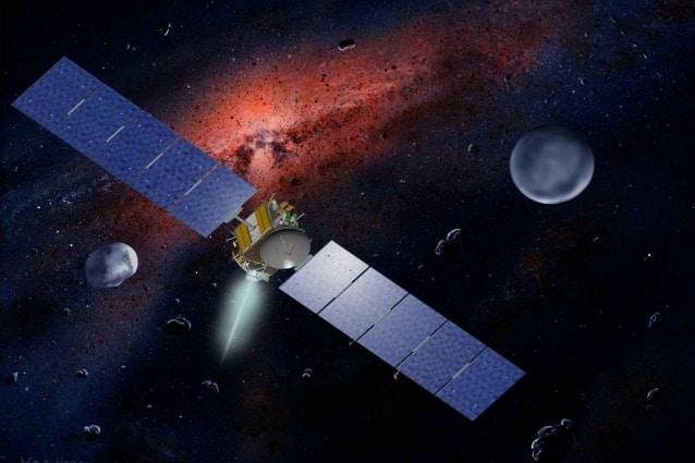 Rappresentazione artistica della sonda della NASA Dawn tra Cerere e Vesta