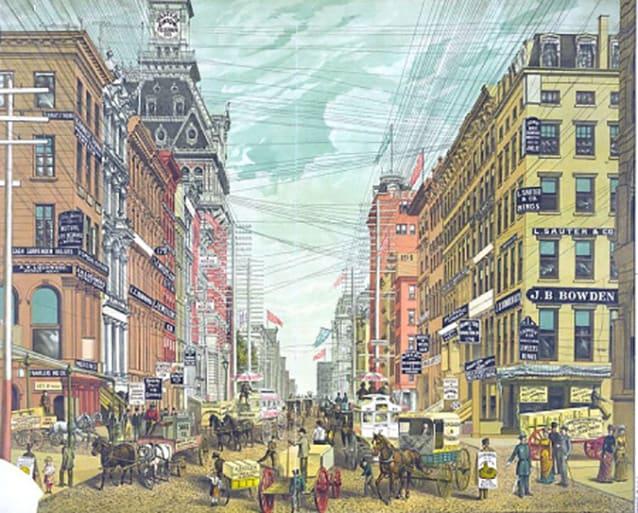 Broadway negli anni Ottanta dell'Ottocento.