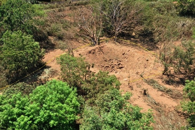 Il cratere aperto dal meteorite caduto in Nicaragua nella notte tra il 6 e il 7 settembre 2014.