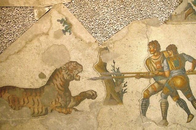 La venatio, mosaico del V secolo custodito presso il Museo dei Mosaici di Istanbul