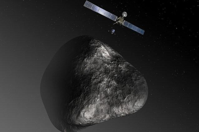 rappresentazione artistica di Rosetta e la cometa, Credit: ESA–C. Carreau/ATG medialab