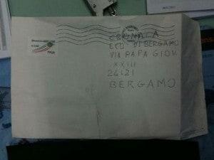 busta della lettera anonima che contiene informazioni su Yara Gambirasio