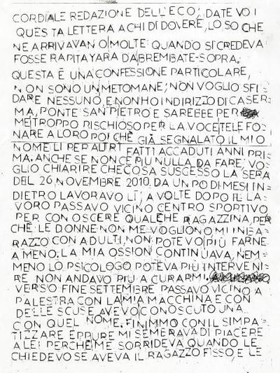 La lettera anonima pervenuta alla redazione dell'Eco di Bergamo
