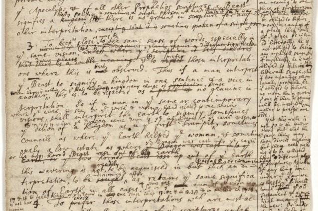 Il manoscritto originale di Isaac Newton in cui viene calcolata la data della fine del mondo. Il documento è custodito nella Biblioteca Nazionale di Gerusalemme.