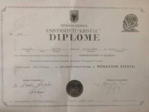 Diploma di laurea di Renzo Bossi