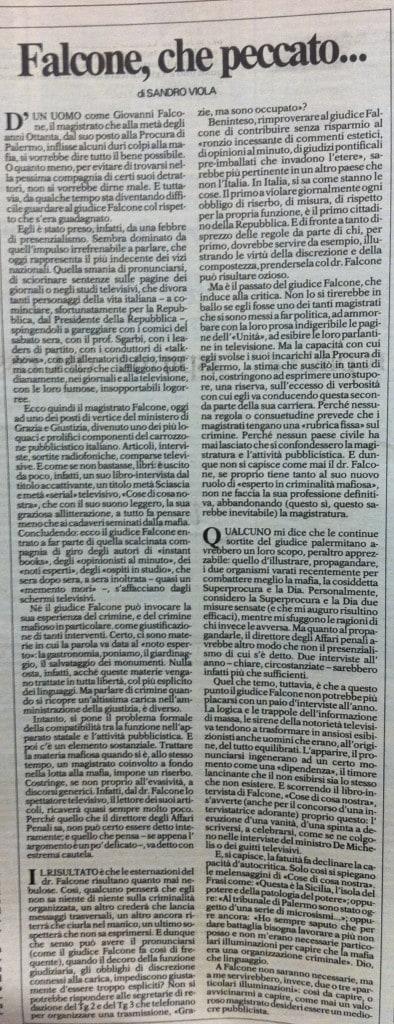 L'articolo del gennaio 1992 firmato da Sandro Viola su Repubblica contro Giovanni Falcone