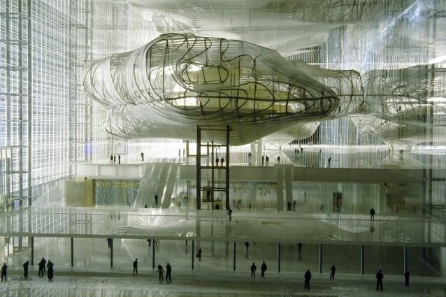 Massimiliano e Dorina Fuksas, Nuovo Palazzo Centro Congressi, EUR, Roma (modello in plexiglass, ottone, acrilico, tessuto)