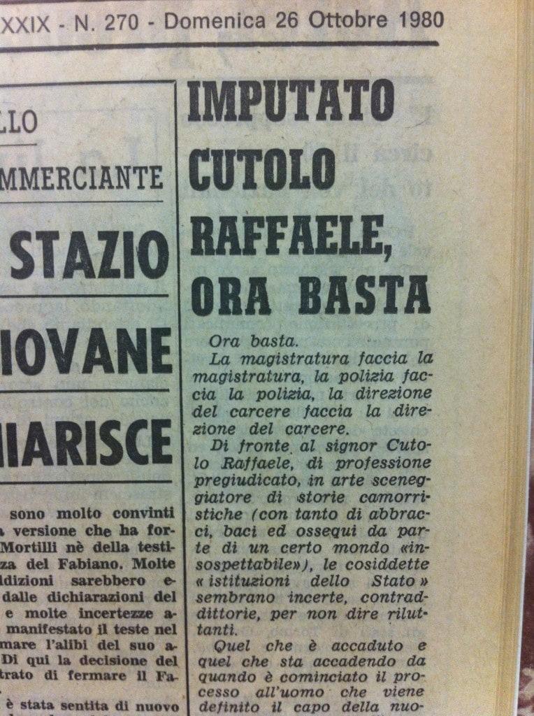 L'editoriale contro Cutolo firmato da Ciro Paglia su Il Mattino dell'ottobre 1980