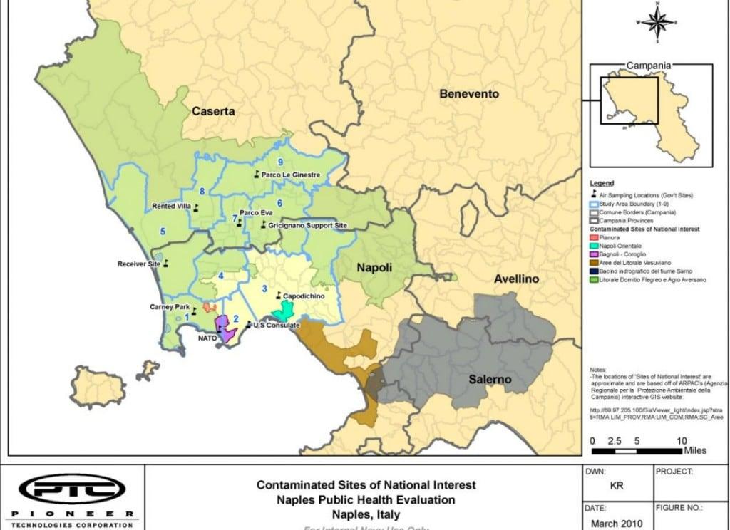 La mappa delle zone contaminate secondo le analisi condotte dai militari Usa